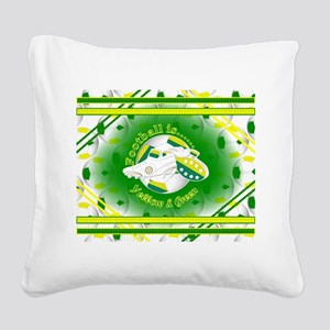 Yellow and Green Football Soccer Square Canvas Pil
