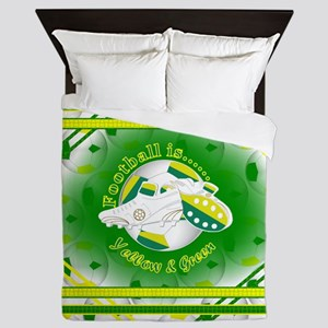 Yellow And Green Football Soccer Queen Duvet
