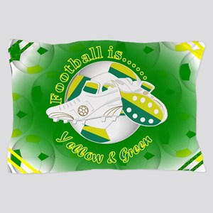 Yellow and Green Football Soccer Pillow Case