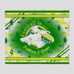 Yellow and Green Football Soccer Throw Blanket