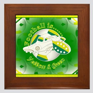 Yellow and Green Football Soccer Framed Tile