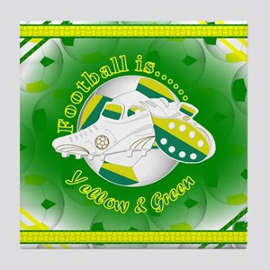 Yellow and Green Football Soccer Tile Coaster