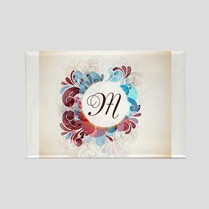 Floral Monogram Rectangle Magnet