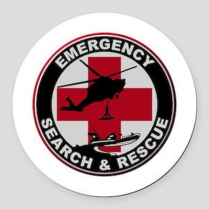 Emergency Rescue Round Car Magnet
