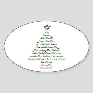 Christmas Tree Oval Sticker
