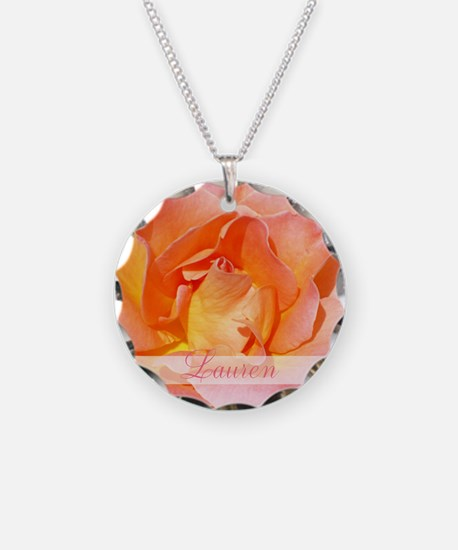Peach Pink Rose Necklace