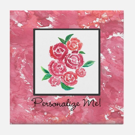 Customized Pink Flowers Tile Coaster