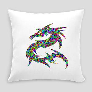 Asian Prismatic Rainbow Dragon Everyday Pillow