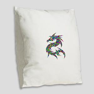 Asian Prismatic Rainbow Dragon Burlap Throw Pillow