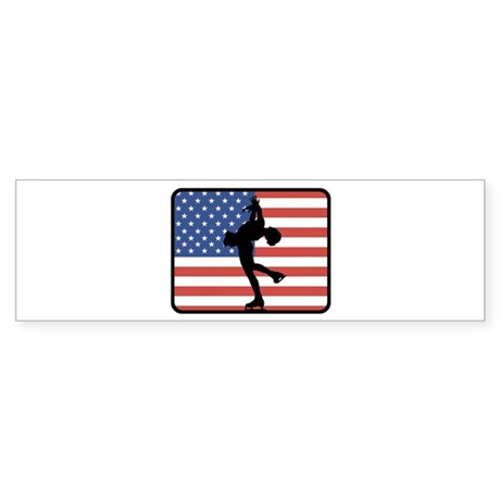 American Womens Ice Skating Bumper Sticker