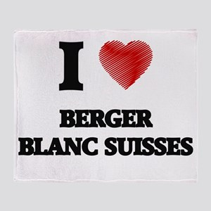 I love Berger Blanc Suisses Throw Blanket