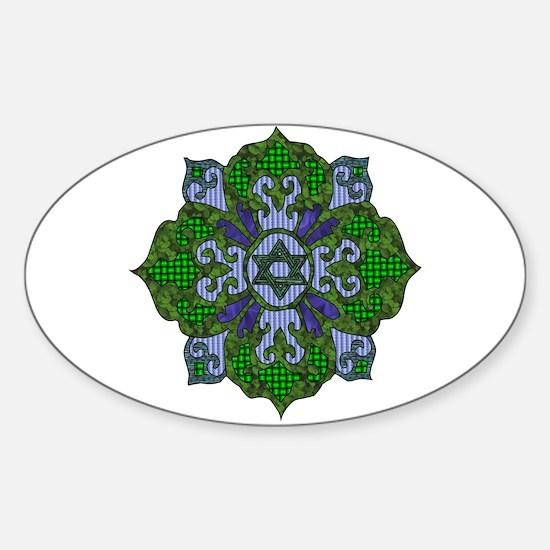 Green Hanukkah Mandela Sticker (Oval)