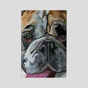 English Bulldog Face Rectangle Magnet
