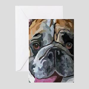English Bulldog Face Greeting Cards (Pk of 20)