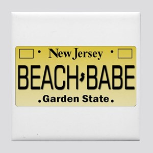 Beach Babe NJ Tag Giftware Tile Coaster
