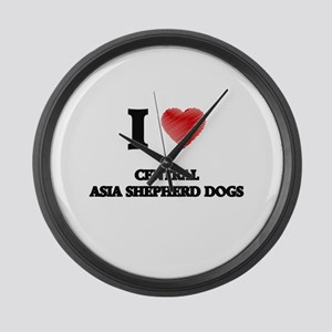 I love Central Asia Shepherd Dogs Large Wall Clock