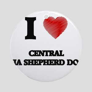 I love Central Asia Shepherd Dogs Round Ornament