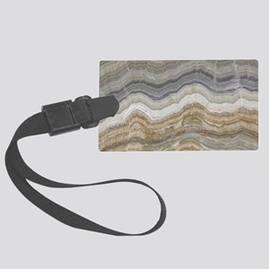 Chic neutral marble swirls Large Luggage Tag