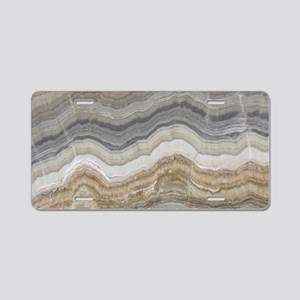 Chic neutral marble swirls Aluminum License Plate