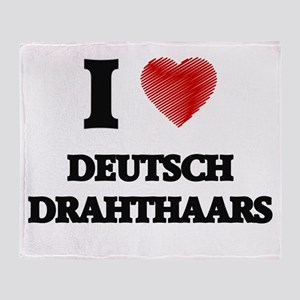 I love Deutsch Drahthaars Throw Blanket