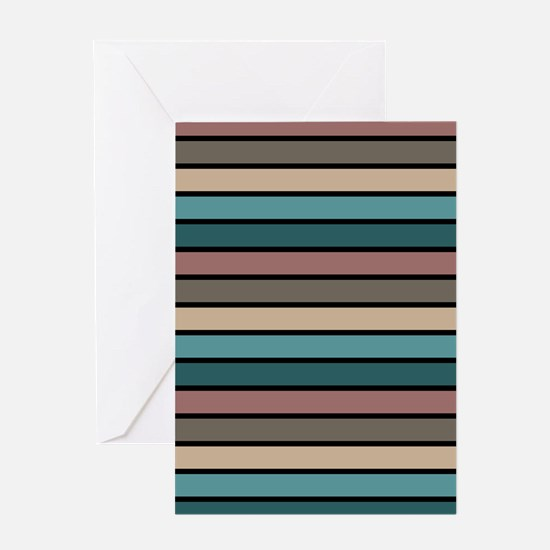 Multicolored Stripes: Brown, Khaki, Greeting Card