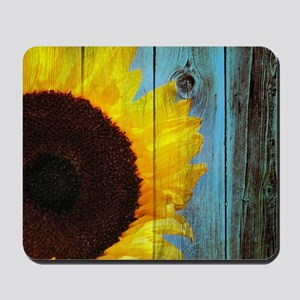 Rustic Sunflower Teal Wood Mousepad