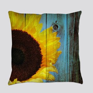 Rustic Sunflower Teal Wood Everyday Pillow