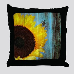 Rustic Sunflower Teal Wood Throw Pillow