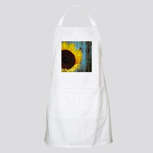 Rustic Sunflower Teal Wood Apron