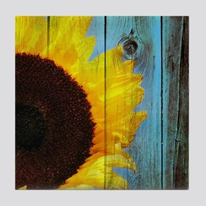 Rustic Sunflower Teal Wood Tile Coaster