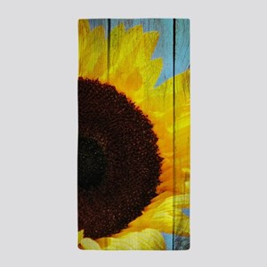 Rustic Sunflower Teal Wood Beach Towel