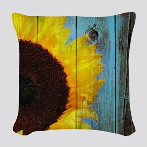 Rustic Sunflower Teal Wood Woven Throw Pillow