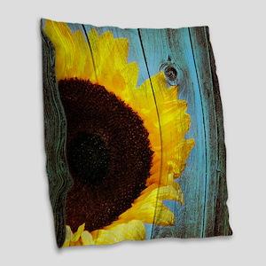 Rustic Sunflower Teal Wood Burlap Throw Pillow