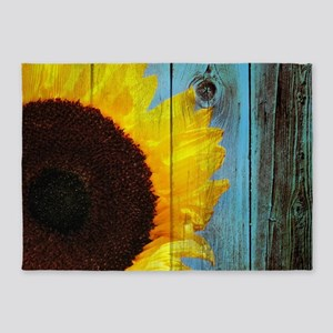 Rustic Sunflower Teal Wood 5'x7'Area Rug