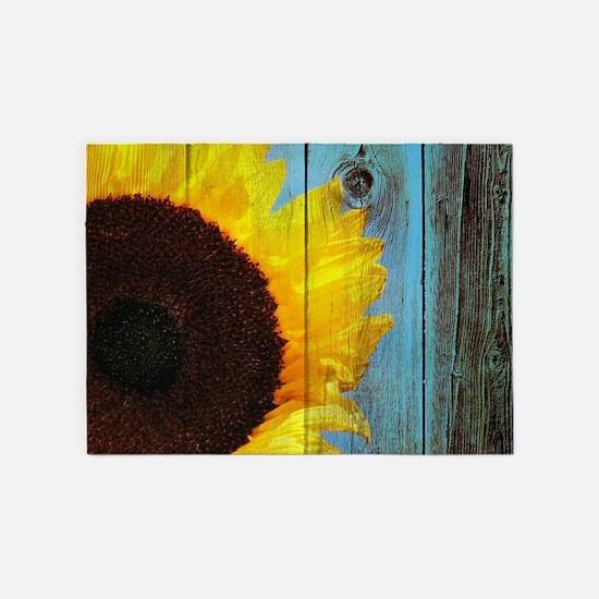 Rustic Sunflower Teal Wood 5'x7'Area Rug
