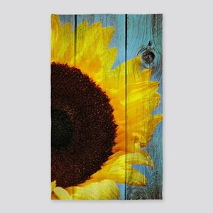 Rustic Sunflower Teal Wood Area Rug