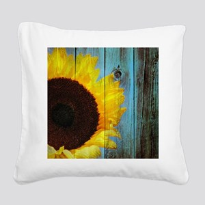 Rustic Sunflower Teal Wood Square Canvas Pillow