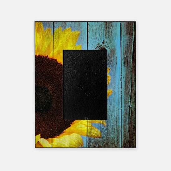 Rustic Sunflower Teal Wood Picture Frame