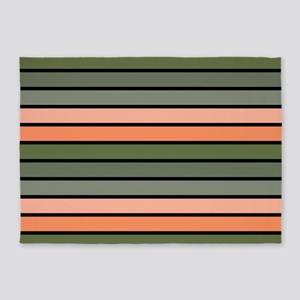Multicolored Stripes: Pink, Peach, 5'x7'Area Rug