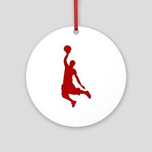 Basketball player Slam Dunk Silhoue Round Ornament