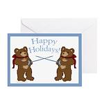 Teddy Bear Fencers Holidays Greeting Card