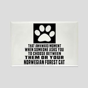 Awkward Norwegian Forest Cat Cat Rectangle Magnet