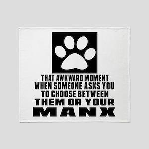 Awkward Manx Cat Designs Throw Blanket