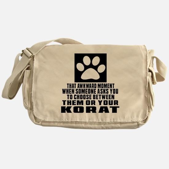 Awkward Korat Cat Designs Messenger Bag