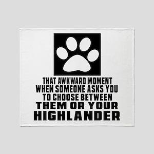 Awkward Highlander Cat Designs Throw Blanket