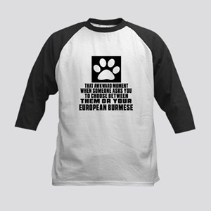 Awkward European Burmese Cat Kids Baseball Jersey