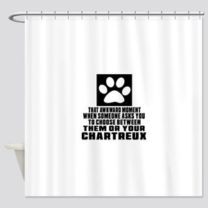 Awkward Chartreux Cat Designs Shower Curtain