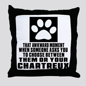 Awkward Chartreux Cat Designs Throw Pillow