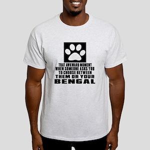 Awkward Bengal Cat Designs Light T-Shirt