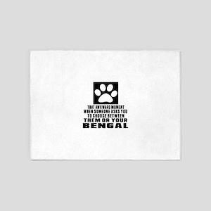 Awkward Bengal Cat Designs 5'x7'Area Rug